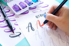 101 Brush Lettering Calligraphy practice worksheets. Practice