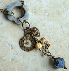 Ceramic Necklace Stoneware Flower Pendant ring and by Artgirl56, $29.50