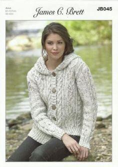 James Brett - Ladies Hooded Jacket Aran Knitting Pattern (JB045)