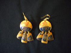 Vintage Edgar Berebi Tri-Color Dangle Hook Earrings