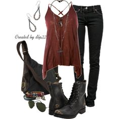 """""""Brick Red and Black"""" by dlp22 on Polyvore"""
