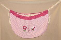 Baby Martex Blossoms Pink Green Plaid Decorative Tie On Toy Bag Holder Decor #BabyMartex