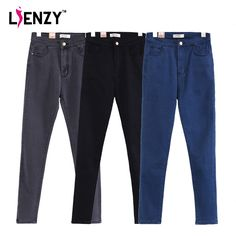 LIENZY Spring Casual Women Denim Jeans Vintage High Waist Slim High Stretch Solid Black Grey Blue Long Women Pencil Jeans