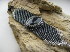 Snowflake Obsidian and Japanese seed bead handmade by garbanke, $48.00