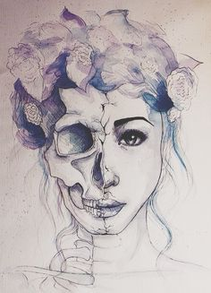 tumblr drawings hipster - this is an artsy day of the dead thing..