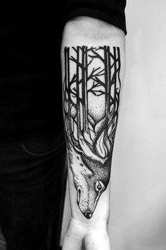 wolf tattoo by Kasia Oskarbska