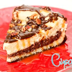 This turtle cheesecake is what dreams are made of! Creamy cheesecake with layers and drizzles of chocolate and caramel... and sprinkled with nuts! DELICIOUS