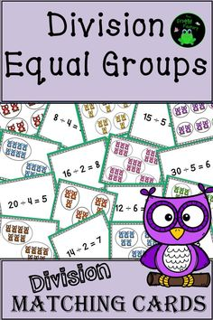 """This product includes 64 matching cards that can be used to practice   division - equal groups. They are great for using in math stations,   small groups, or guided math groups. Your students will love the   """"Creative Clips - Rainbow Owls"""" used in the cards."""