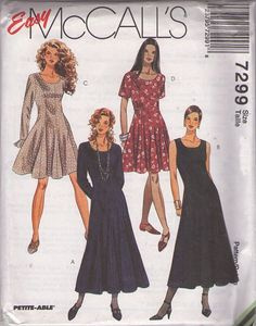 MOMSPatterns Vintage Sewing Patterns - McCall's 7299 Retro 90's Sewing Pattern PRETTY Classic Easy Fit & Flared Princess Seams Mini Party Dress, Midi Evening Styles Size 4-8