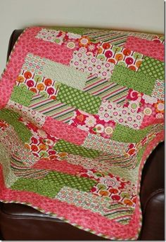 Quilt made with Riley Blake Fabrics and a Polkadot Chair pattern..