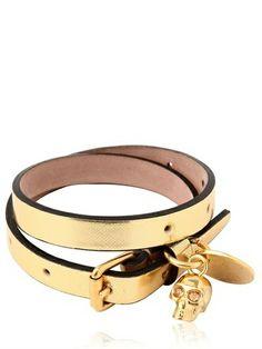 Glow Web Leather Swaroski Skull Bracelet - Lyst