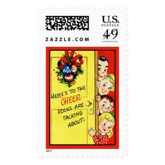 Retro Christmas Cheer Vintage Christmas Postage