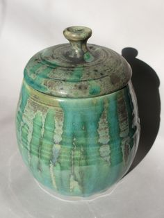 Ceramic Jar with Lid  Teal Drip on Grey by MudbugCreations on Etsy, $28.00