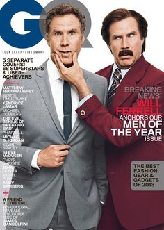 American actor Will Ferrell wearing Burberry tailoring on the cover of the December issue of GQ
