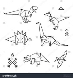 Black and white prehistoric tattoos. Dinosaurs origami set in contour. Black and white prehistoric tattoos. Dinosaurs origami set in contour. Origami Tattoo, Origami Rose, Origami Ball, Delicate Tattoo, Subtle Tattoos, Redwood Tattoo, Dinosaur Origami, Minimalist Tattoo Meaning, Minimalist Tattoos