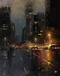 """Daily Paintworks - """"A Night in NYC"""" by Victor Bauer"""
