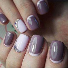 Pale pink and grey half moon nail art design