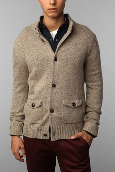 Hawkings McGill Speckled Mock Neck Sweater Jacket - Urban Outfitters