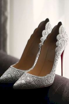 Christian Louboutin OFF!>> 24 Gorgeous Bridal Shoes For Stunning Brides ❤ See more: www. Wedding Heels, Silver Wedding Shoes, Shoes For Wedding, Cinderella Wedding Shoes, Wedding Jewelry, Wedding Sneakers, Rhinestone Wedding, Christian Louboutin Shoes, Wedding Shoes Louboutin