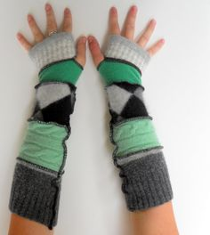 susie bubble upcycle clothing | ... Gloves Arm Warmers Upcycled Clothing Argyle Green Envy Thankful Rose