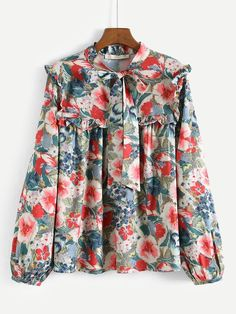 To find out about the Tie Neck Floral Print Blouse at SHEIN, part of our latest Blouses ready to shop online today! Muslim Fashion, Modest Fashion, Hijab Fashion, Fashion News, Fashion Dresses, Casual Hijab Outfit, Mode Hijab, Printed Blouse, Floral Blouse