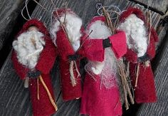 """Santa Ornaments @ The Olde Country Cupboard:"""" I have 4 of the little St. Nicks made on a clothespin. $4.00 for the set plus shipping. Sorry these are sold."""" [The site takes a LONG time to load...be patient. Maybe she will have MORE of these when it gets closer to Christmas. :-) THERE ARE A LOT OF FREE PDF PATTERNS AT BOTTOM OF PAGE!!!]"""