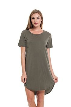 Emery Pointe Cupro Short Sleeve Tshirt Dress Medium Olive -- Learn more by visiting the image link.