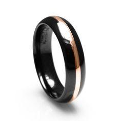 Black Titanium Men's Wedding Ring 18K Rose Gold (If Ryan gets me a rose gold ring).