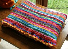 A very colorful block-stitch blanket with scalloped edging, free pattern. Super-easy, basic stitch . . . . ღTrish W ~ http://www.pinterest.com/trishw/ . . . . #crochet #afghan #throw
