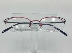 c8fa90b1cd74 Details about Semi rimless black red eyeglass frames. Designer Valentino  made in Italy