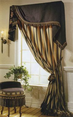 Asymmetrical window treatment: Moreland valance over tied back panel. Curtains With Blinds, Window Curtains, Balloon Curtains, Drapery Designs, Custom Window Treatments, Passementerie, Custom Windows, Window Dressings, Window Styles