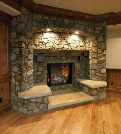 Fireplace with built in seats.