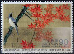 Japan,  INTERNATIONAL LETTER WRITING WEEK, GREETINGS. BIRDS &  AUTUMN MAPLE. Scott 2632 A2051.  90, Perf  13 1/2.  Issued 1998 Oct 6.  Photogravure.