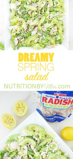Crunchy, tangy, naturally sweet & overflowing with vitamins + minerals... everything you could want in a SPRING salad! Butter lettuce, peas, creamy avocado, crunchy Dandy Produce celery & radishes two ways - coins + ministicks with a lemony dressing. NEW: https://nutritionbymia.com/dreamy-spring-salad
