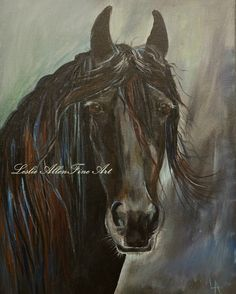 """Horse Painting Horse Painting of Horses Friesian Running Paintings Print Abstract  """"Friesian Fancy"""" Equestrian 16x20"""