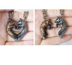 Fox Love Necklace His and Hers Heart Kissing Couple by wcgoods on Etsy https://www.etsy.com/listing/235110152/fox-love-necklace-his-and-hers-heart