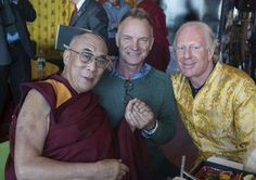 """His Holiness the Dalai Lama, Sting and Bobby Sager at benefit event in support of the Dalai Lama Center for Ethics and Transformative Values / Article: """"His Holiness the Dalai Lama Embraces the Addition of Western Science to the Core Curriculum at Tibetan Buddhist Monasteries in India"""""""