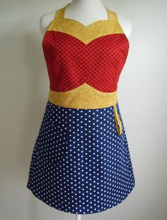 Be the kitchen Super Hero in this Wonder Woman Apron Sewing Aprons, Wonder Woman, Up Girl, At Least, Dress Up, Costumes, The Originals, My Style, Pattern