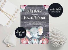 Elephant baby shower invitation Girl safari baby shower