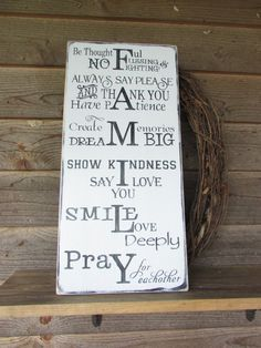 This primitive rustic sign of family rules, is made of wood and hand painted, This inspirational sign has sealer applied for protection, and comes ready to hang