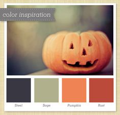 Gray Green and Orange :: Halloween Color Palette by Sarah Hearts