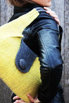 SALE handbag  Lemon  Grey ooak by Onstail on Etsy