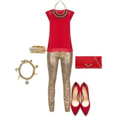 """""""RED AND GOLD OUTFIT"""" by prudence-sarah on Polyvore"""