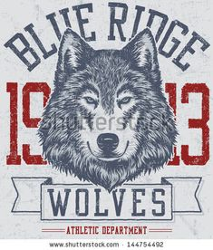 Vector three color retro wolf mascot athletic design complete with wolf head mascot illustration, vintage athletic fonts and matching textur...