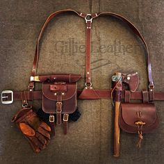 Leather Suspenders and Gear - By Gillie Leather Leather Bushcraft Gear - By Gillie Leather The Effective Pictures We Offer You About Bushcraft camping diy A quality picture can tell you many things… Leather Belt Pouch, Leather Holster, Leather Tooling, Bushcraft Gear, Bushcraft Camping, Camping Gear, Bushcraft Skills, Tent Camping, Leather Suspenders