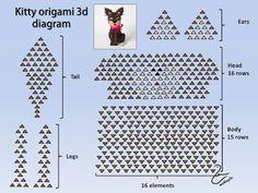 Mikaglo - Origami Modułowe - Origami 3d: 98. Jak zrobić kota z origami / 3d origami kitty tutorial