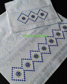 Photo by Neslihan ÖzbüberAbatay on March Fotoğraf açıklaması yok. Hardanger Embroidery, Hand Embroidery Stitches, Silk Ribbon Embroidery, Embroidery Patterns, Crochet Patterns, Cross Stitch Borders, Cross Stitch Patterns, Embroidered Pillowcases, Diy Ribbon
