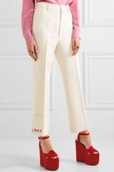 Gucci - Embroidered Wool And Silk-blend Flared Pants - Cream - IT36