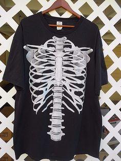 FUNNY SKELETON RIBCAGE SPINE Graphic T Shirt Men's Size 2XL Short Sleeve Black…