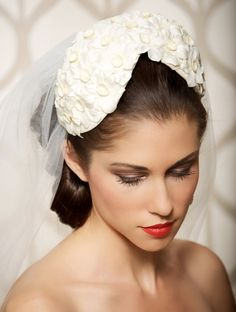 White Ivory Vintage French Floral Wedding Cap, Juliet Cap Veil, Bridal Cap, Yellow Daisies - Ready to Ship. $39.00, via Etsy.
